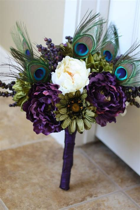 Peacock Wedding Bouquet Made to Order @ Elizabeth