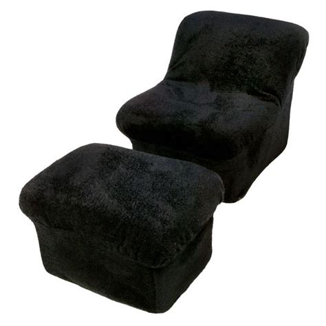 Cloud Chair by Tween Cloud Chair And Ottoman In Black Fur Dcg Stores