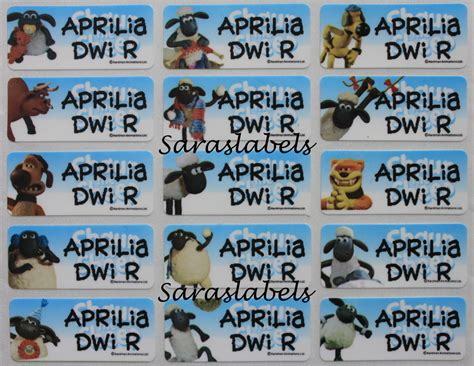 Shaun The Sheep Buku Stiker stiker label nama ln riana saraswati