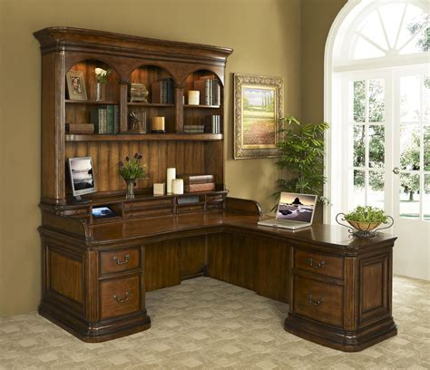 l shaped office desks with hutch devonshire walnut l shaped office desk with hutch
