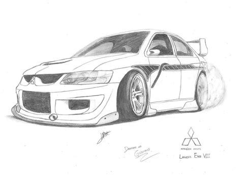 mitsubishi evo drawing lancer evo viii by samuvt on deviantart