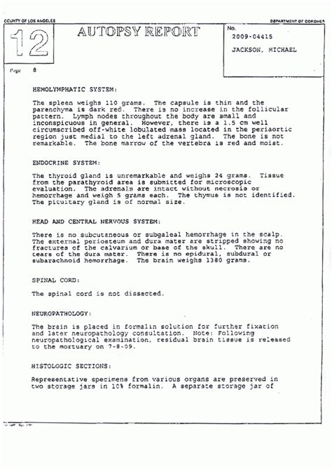 autopsy report template michael jackson autopsy report the gun