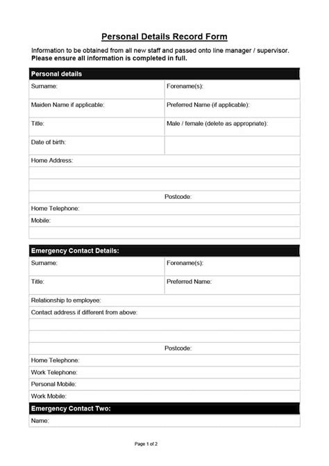 employee emergency contact forms carbon materialwitness co