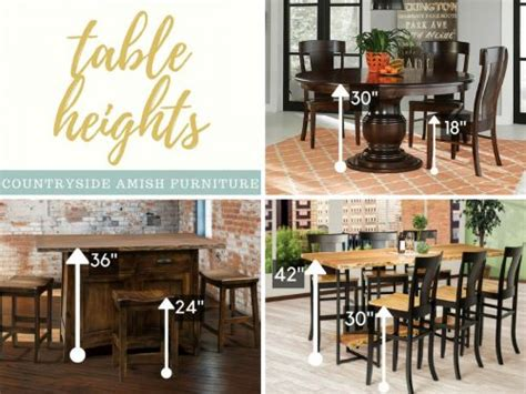 what is standard dining table height standard height vs counter height vs bar height amish