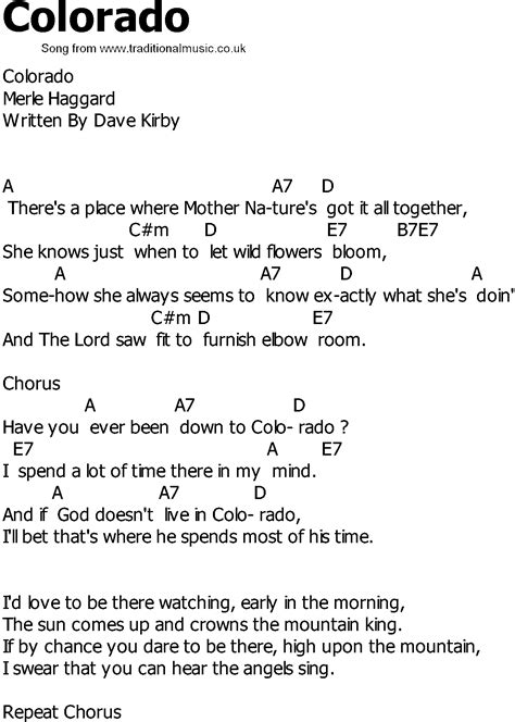 song in country song lyrics with chords colorado
