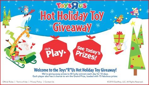Toy Giveaways - hot toys r us instant win hot holiday giveaway game