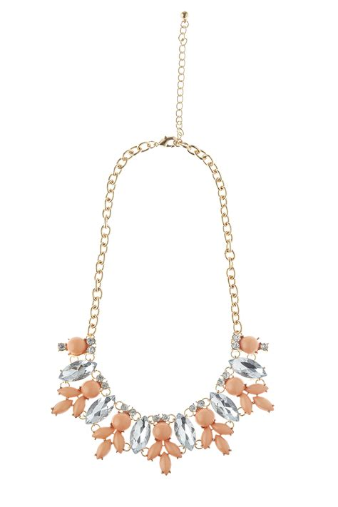 coral clear beaded necklace from by clothes minded