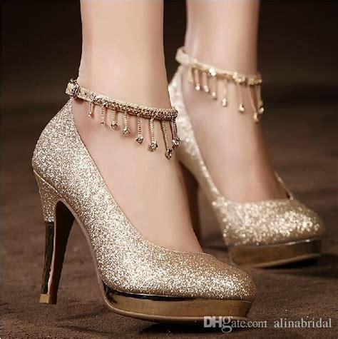 High Heels Wedding Gold Tb33 sparkling golden lace up wedding bridal shoes crystals