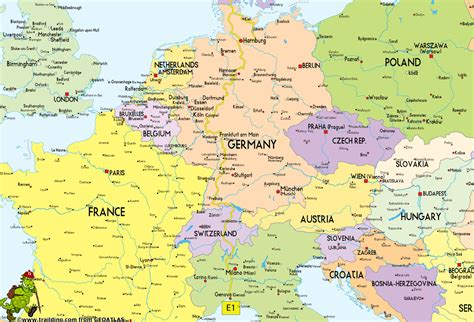 printable road map western europe maps update 1412997 detailed travel map of europe