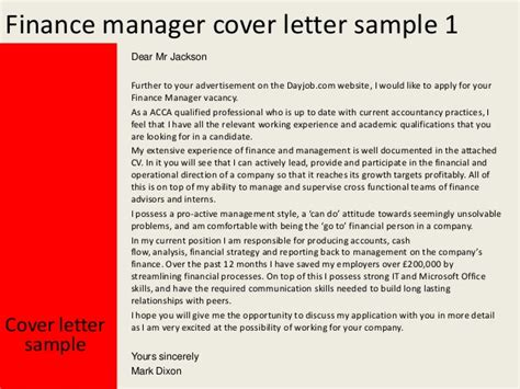 Finance Manager Cover Letter Sle Finance Manager Cover Letter