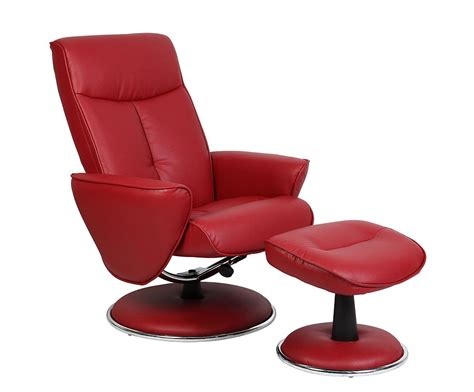 mac motion recliners mac motion euro recliner and ottoman in red bonded leather
