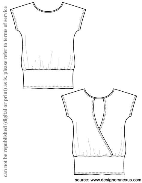 v14 knit tunic t shirt template free flat drawing