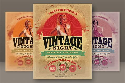 retro poster template 6 retro style flyers on behance