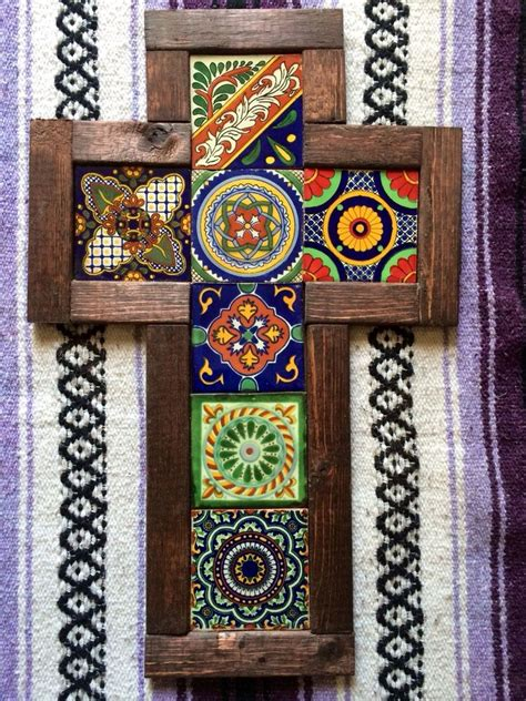 wall cross reclaimed wood mexican talavera tile handmade