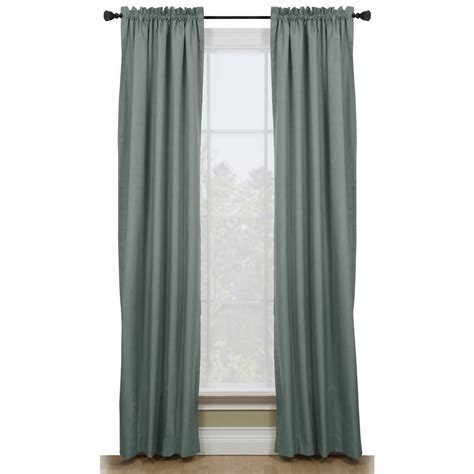 lowes window curtains shop style selections walker 84 in l solid blue thermal
