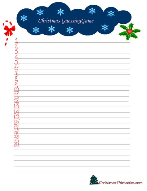 guessing games for christmas free printable