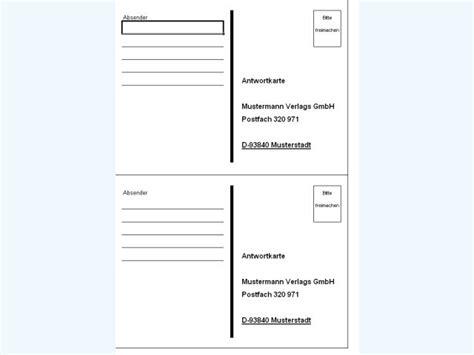 Word Vorlage Postkarte Antwortkarten Vorlage Software Zum