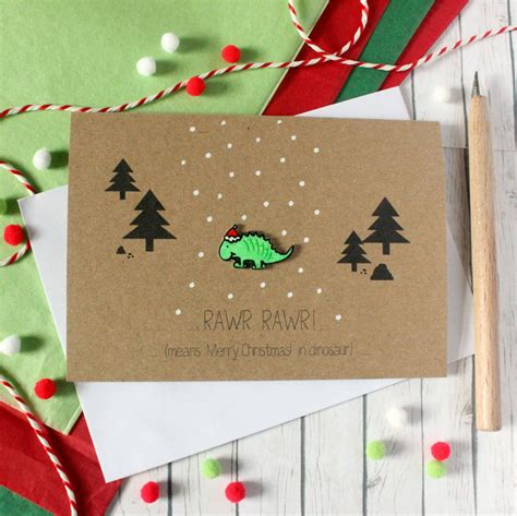 Handmade Means - dinosaur card rawr merry dinosaur by
