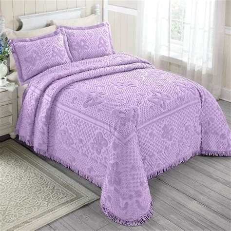 Purple Chenille Bedspread 100 Cotton Chenille Purple Butterflies