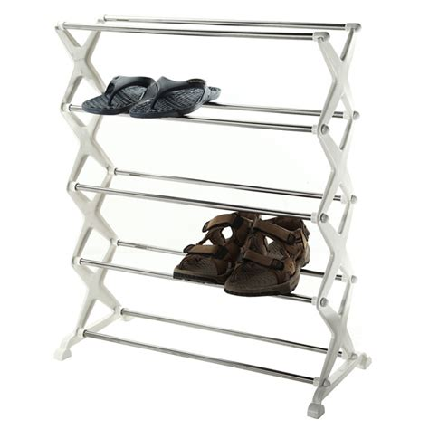 Stainless Steel Shoe Rack by 5 Tier Foldable Stainless Steel Shoe Rack Shoes Storage