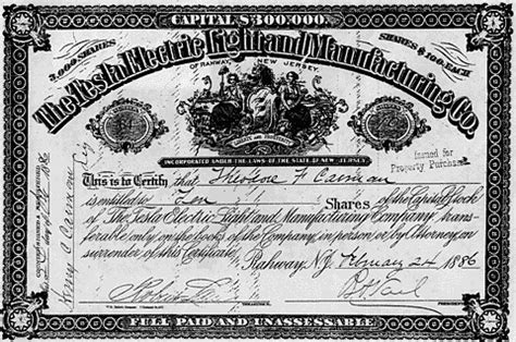 Light Manufacturing Companies Stock Certificate For The Tesla Electric Light And