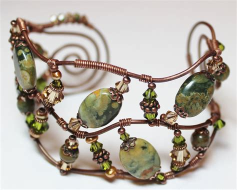 Handmade Jewelry Bracelets - handmade jewelry cuff bracelet beaded wire wrapped by
