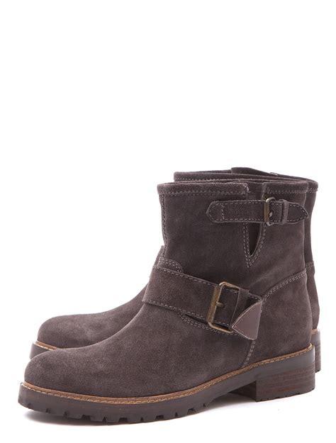 lug boots scoop lug sole suede biker boots in gray grey lyst