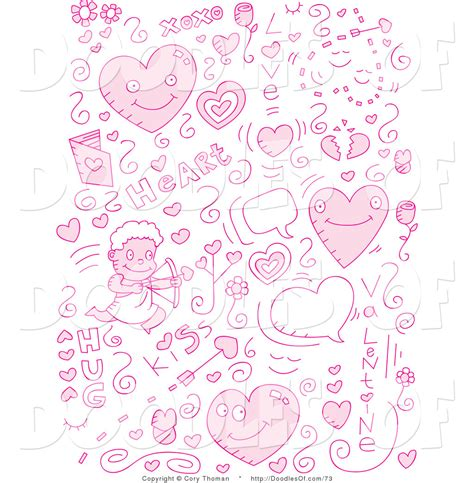 doodle pink vector clipart of a collage of pink doodle icons by