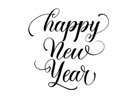 happy new year calligraphy vector free