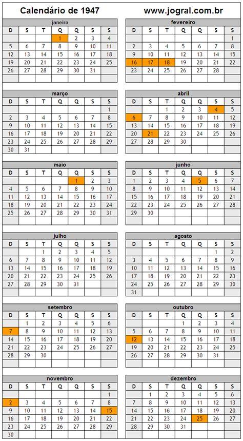 Calendario De 1948 Calend 225 Ano 1947 Para Imprimir Em Formato Pdf E Imagem
