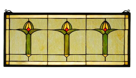 meyda 71309 arts crafts bud trio stained glass window - Craftsman Stained Glass