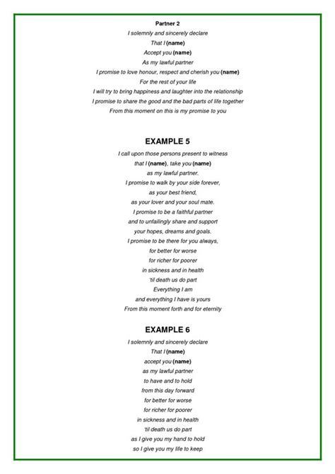 wedding vows template exles of wedding vows wedding some day