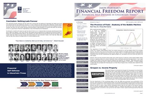 Newsletter Report Free Sle Jason Hartman S Financial Freedom Report Newsletter