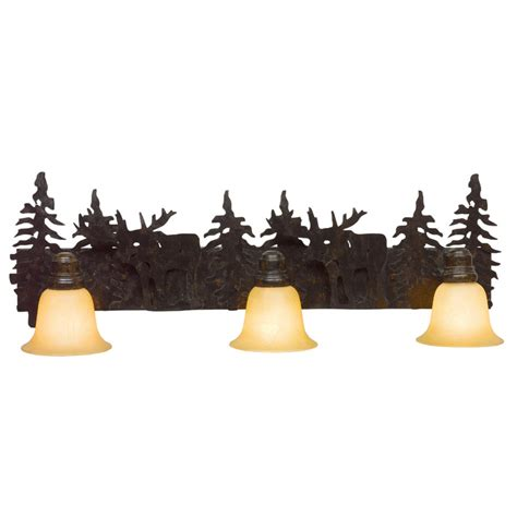 bathroom lighting fixtures lowes shop bel air lighting 3 light lodge decor rust bathroom