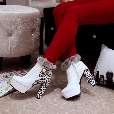 winter white high heel boots winter toe chunky high heel zipper ankle feathers