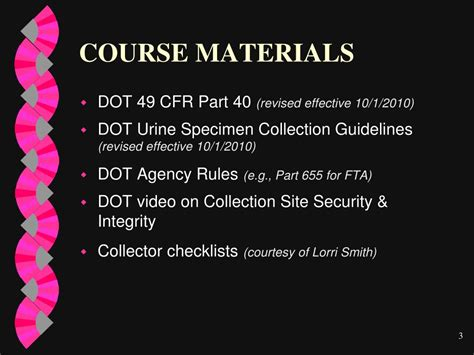 dot regulation 49 cfr part 40 section 40 25 ppt dot collector qualification training and proficiency