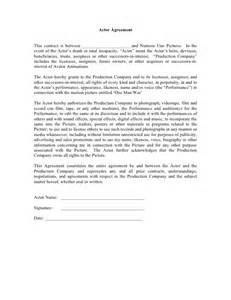 actors contract template actor agreement form