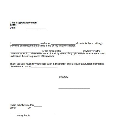 Child Support Sle Letter Agreement Sle Letter Voluntary Child Support Agreement Docoments Ojazlink