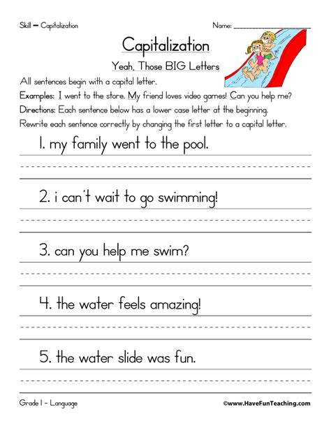 Capitalization Worksheets by Capitalization Worksheet Beginning Of A Sentence