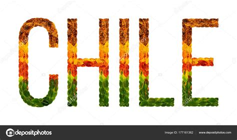chile color word chile country is written with leaves on a white