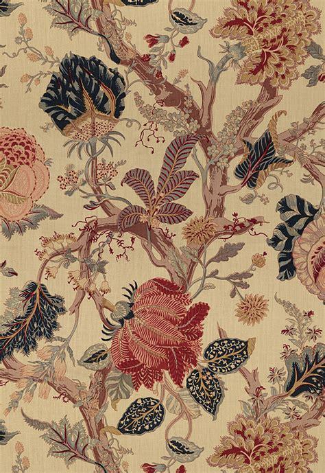 schumacher fabric schumacher indian arbre jacobean linen fabric tea
