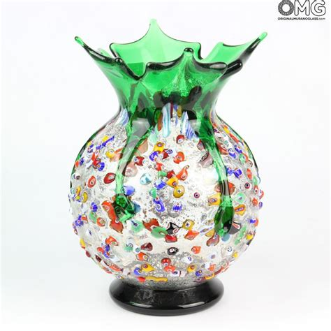 Glass Flower Vases Melody Green Flowers Vase Murano Glass Millefiori