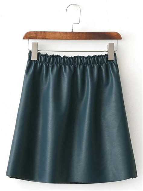 fleece lined a line faux leather skirt in green