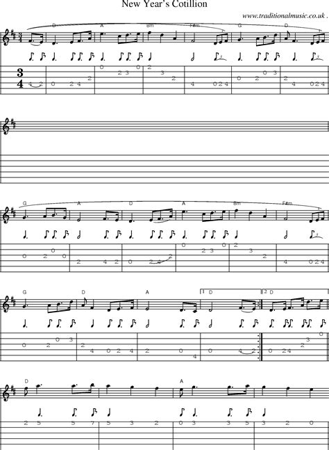 new year song midi folk and traditional sheet guitar tab mp3