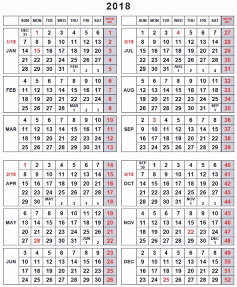 printable calendar 2018 by week 2018 weekly calendar by week numbers