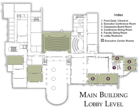 Recreation Center Floor Plan by Main Building Lobby Level Floor Plans Accommodations