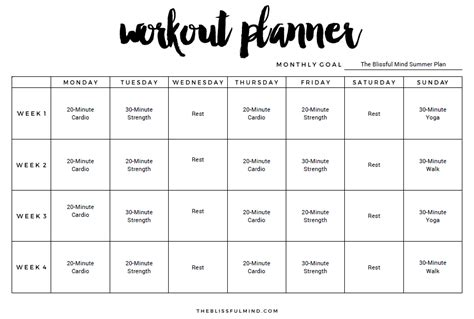 Work Out Chart Template 50 Best Templates