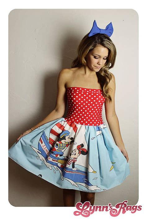 Handmade Disney Dresses - sailor disney mickey minnie mouse dress bow handmade