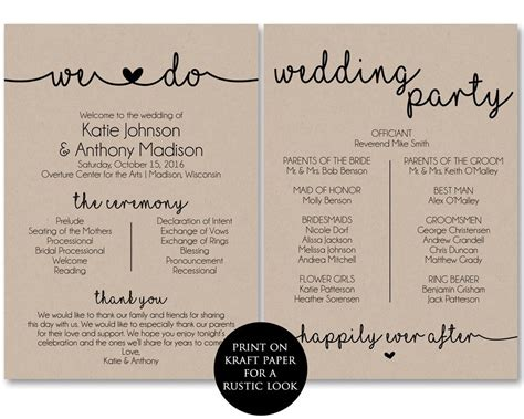 program card wedding template ceremony program template printable wedding programs