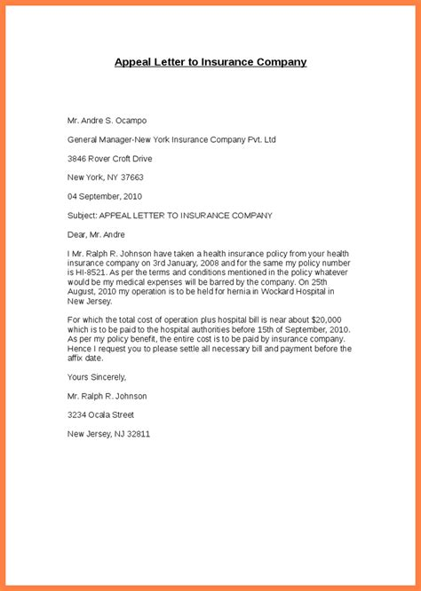 insurance appeal letter template insurance appeal letter letter template